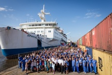 The Africa Mercy crew gathered together down on the dock for a picture to celebrate the International Charity Day