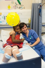 Kelly Lewthwaite, Ward Nurse, with Justine.