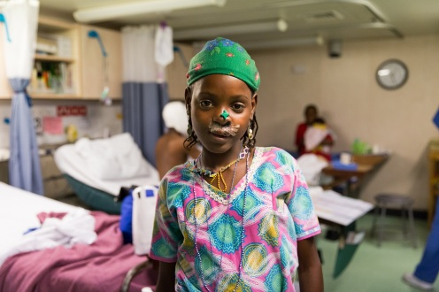 Fadimatou, maxillofacial patient, in the wards after surgery.