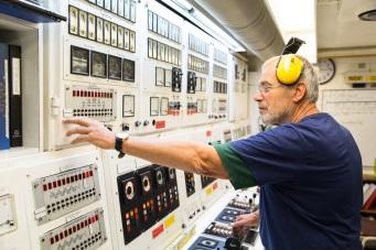 Joop Splinter, Chief Engineer, in the Control Room.
