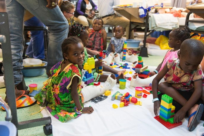 Patients playing with blocks in the wards.